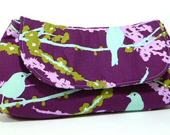 Clutch Purse - Purple Aqua Green Birds Fold Over Clutch, Bridesmaids Gift