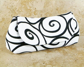 Clutch Purse - White Black Ironworks Scrolling Circles Fold Over Clutch, Wedding Clutch, Gifts for Her