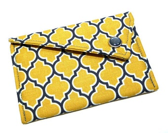 Business Card Holder - Yellow and Grey Lattice