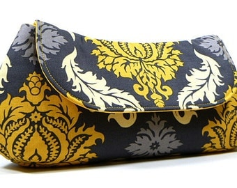 Clutch Purse - Grey and Yellow Damask Wedding Clutch, Bridesmaid Clutch, Bridal Clutch