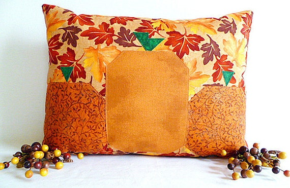 Fall Throw Pillow - Pumpkins and Leaves with Removable Pillow Insert (Ready To Ship)