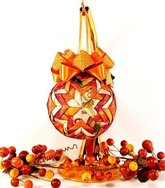 Thanksgiving Quilted Ornament - Spiced Pumpkin (Ready To Ship SALE)