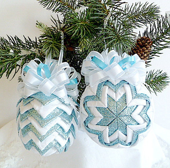 Quilted Ornament Set - Ice Blue and White Snowflakes (Ready To Ship SALE - Last Set)