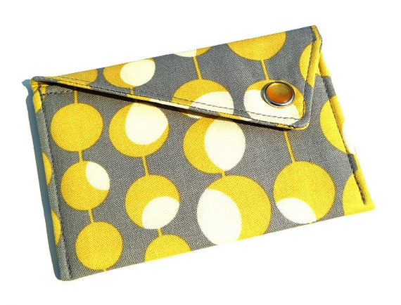 Card Holder - Yellow and White Circles on Grey