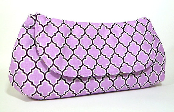 Clutch Purse - Orchid Purple Lilac and Plum Lattice Fold Over Clutch, Bridesmaids Clutch, Bridesmaid Gift