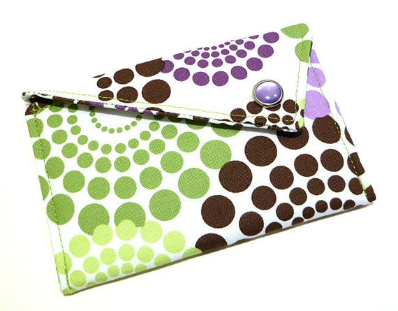 Business Card Holder - Purple Green and Brown Circles on White (Limited Edition)