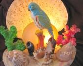 1960's Era Florida TV Light with Parakeet and Shells