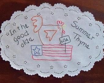 Primitive Stitchery Patriotic Summer Chicken