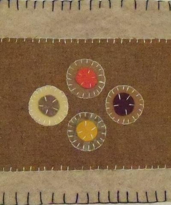 SALE: Penny Rug Table Runner Antique Vintage Style Felted Wool