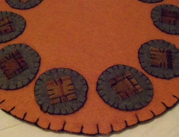 SALE: Penny Rug Felted Wool Primitive Round Autumn Fall