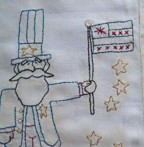 Primitive Patriotic Stitchery on vintage linen Uncle Sam