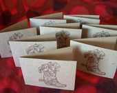 Montana Cowboy Christmas Card Hand Stamped Set of 8