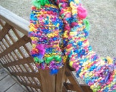 Hand Knitted Multicolor Rainbow Merino Art Yarn Scarf - Jungle Parrot OOAK - Ready to Ship