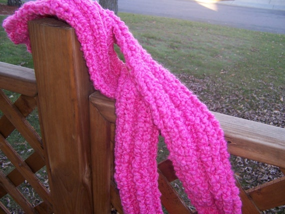 Hand Knitted Scarf Acrylic Hot Pink Elephants Valentines Day Warm and Cozy  -  Ready To Ship