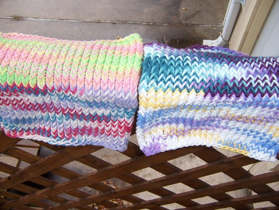 Knitted Cotton Dishcloths Washcloths Multicolor Oddballs Seconds - Ready To Ship