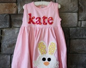 Easter Dress - Personalized Dress with Bunny Applique- You Choose Dress Color and Sleeve Length