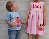 Summer Dress and Shirt Set- Crab Applique- Brother Sister Sibling Set
