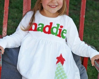 Personalized Christmas Dress- Tree with Star Applique Dress