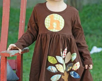 Girl's Fall Dress - Personalized Dress with Autumn Tree Applique - You Choose Dress Color and Sleeve Length