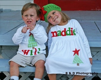 Christmas Dress Shirt Set - Brother Sister Sibling Set -  Christmas Applique Outfits