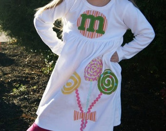 Lollipop Dress - Toddler Dress - Applique  Dress- You Choose Dress Color and Sleeve Length