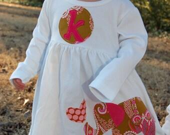 Personalized Elephant Dress - You Choose Dress Color and Sleeve Length