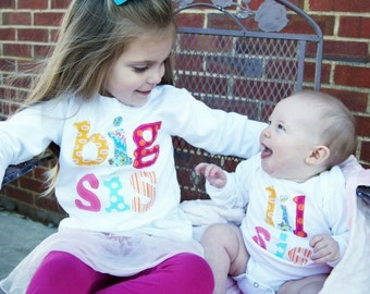 Big Sis Lil Sis Shirt Set - Sibling Shirts -Perfect for Family Pics, Pregnancy Announcement, Baby Shower Gift - Choose Color & Sleeve Length