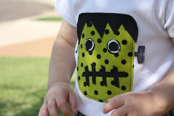 Halloween T-Shirt or Onesie - Frankenstein Applique - You Choose Shirt Color and Sleeve Length