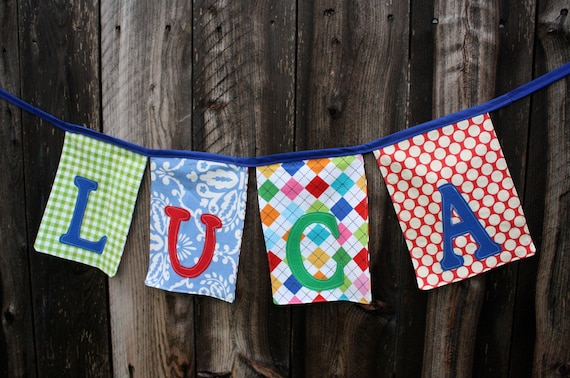 Personalized Fabric Name Banner Garland - Party or Room Decoration