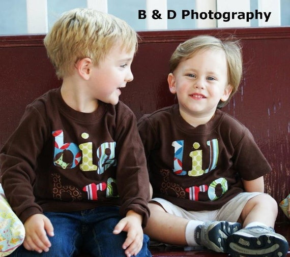 Big Bro Lil Bro Sibling Set Big Brother LIttle Brother Shirt Set -- Choose Shirt Color and Sleeve Length