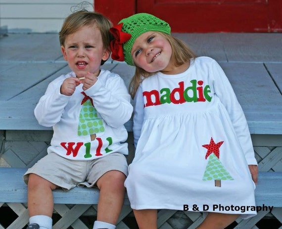 Christmas Dress Shirt Set - Brother Sister Sibling Set -  Christmas Applique Outfits