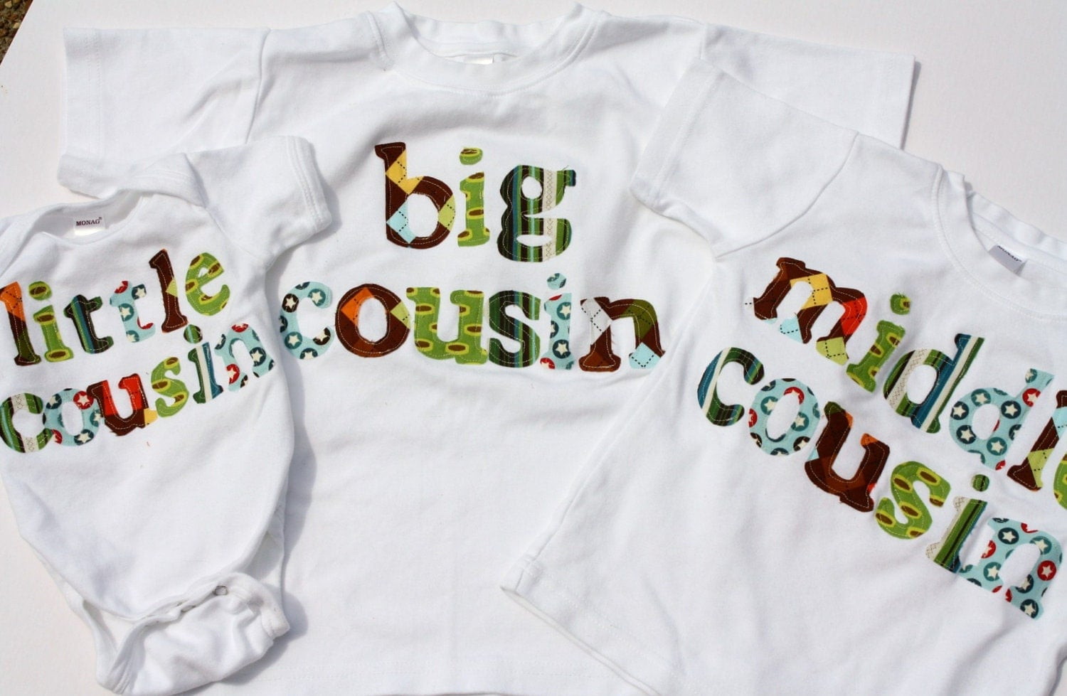 Big Middle Little Cousin Shirt Set Choose Shirt Color And