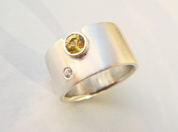 "RESERVED engagement ring - wedding band -  yellow sapphire - white sapphire wide band ring - ""sun and moon"" handmade by lolide"