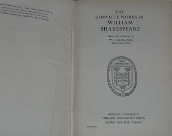 William Shakespeare, Complete Works, Oxford,1954, Books Theater, Books Plays, Books Actors, Old Books, Books Vintage