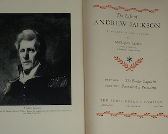 Life of Andrew Jackson, President, by Marcus James, 1938, Books, Biography Book, History Books, Presidents Biography, Non Fiction Books,