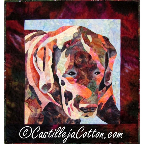 Dog Art Quilt Wall Hanging, 4508-0, Fabric Art Quilt, Applique Wall Quilt, On sale Art Quilt, quilted wall hanging