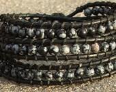 Handmade Leather Wrap Bracelet - Snowflake Obsidian beads on leather