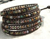 Handmade  Leather 5  Wrap Bracelet -Fancy Jasper beads on Brown leather