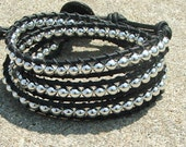 Handmade Leather Wrap Bracelet - Silver beads on Black leather