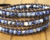 Handmade Leather Wrap Bracelet - Blue Sodalite on leather