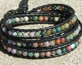 Leather Wrap Bracelet - Fancy Jasper beads on black leather