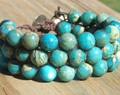 3 Row Wrap Cuff Bracelet with Serpentine Jasper beads