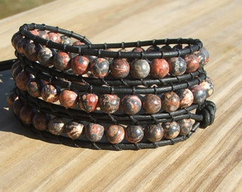 Handmade Leather Wrap Bracelet - Leopard Jasper beads on leather