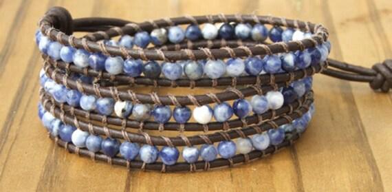 Handmade Leather Wrap Bracelet - Blue Sodalite on leather