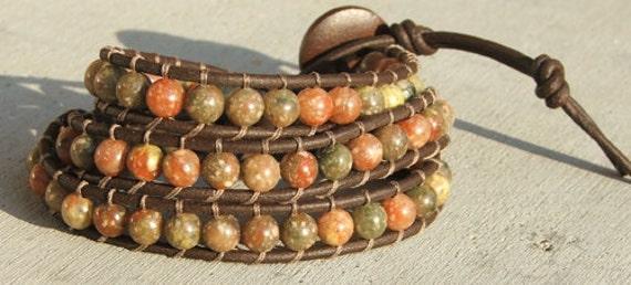 Handmade Leather Wrap Bracelet - Autumn Jasper on leather