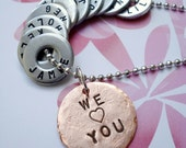Personalized Mom - Grandmother Ball Chain Necklace - Hardware Washers and Copper Disc