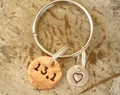 Runners Half Marathon Key Chain with Copper and Sterling Silver Discs