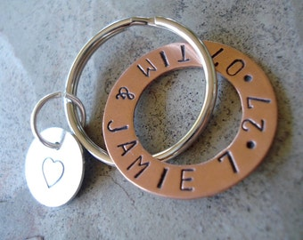 Anniversary Hand Stamped Copper Washer and Sterling Silver Disc Key Chain
