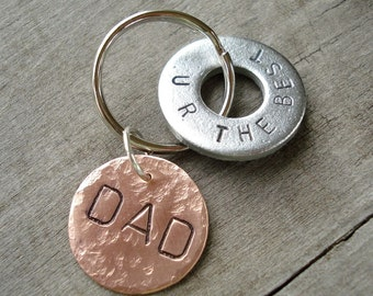 DAD - U R THE BEST - Hand Stamped Washer Key Chain and Copper Disc