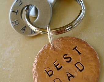 BEST DAD - Hand Stamped Washer Key Chain and Copper Disc